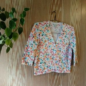 Talbots Floral Bumblebee Print Cardigan Button Up